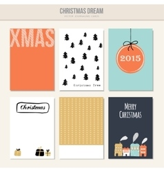 Set of christmas greeting journal cards vector image vector image