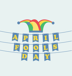april fools day festive background with hat with vector image