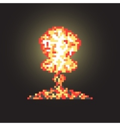 colored atomic explosion in pixel art with flash vector image