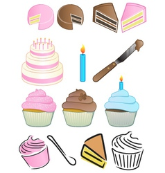 cupcake bakery icon set vector image vector image