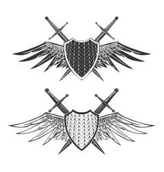 shield with swords emblem set vector image vector image