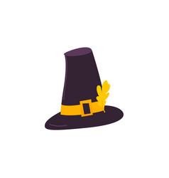cartoon style pilgrim hat with yellow oak leaf vector image