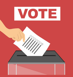 hand of person casting a ballot at polling station vector image