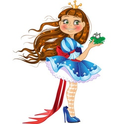 Little princess with frog vector image vector image