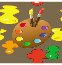 Palette paintbrushes and paint spots seamless vector image