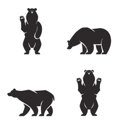 silhouettes of the bears set vector image