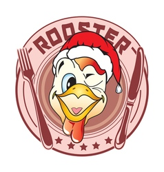 Sticker in the form of a rooster head vector