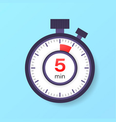 5 minutes timer stopwatch icon in flat style vector