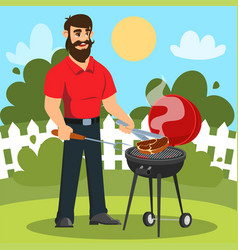 a man is cooking barbecue in his backyard vector image