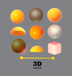 abstract 3d geometric elements render set vector image