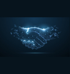 Abstract handshake on blue or vector