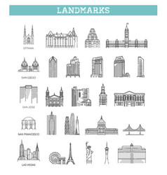 american landmarks and travel destinations vector image