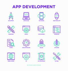 App development thin line icons set vector