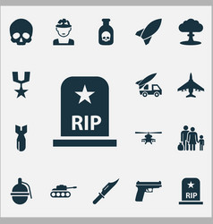 Army icons set collection of rip panzer rocket vector
