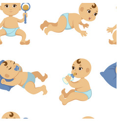 baby toddler flat character seamless vector image