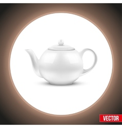 Background of white ceramic teapot vector