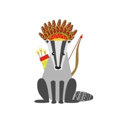 Badger Wearing Tribal Clothing vector image
