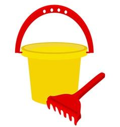 Beach toys- bucket and rake vector