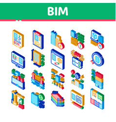 Bim building information modeling isometric icons vector