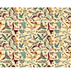Birds seamless pattern wallpaper color vector image
