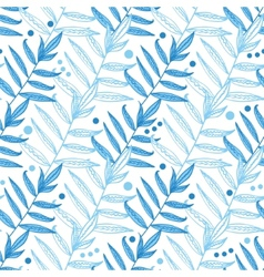 blue line art leaves seamless pattern vector image