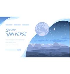 blue space futuristic landscape with asteroids vector image