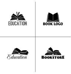 Books and education logo set paper book black vector