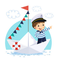 Boy in sailor costume standing in a paper boat vector