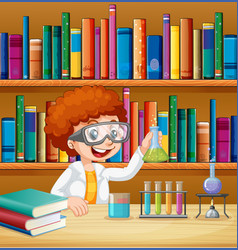 Boy in science lab with books vector