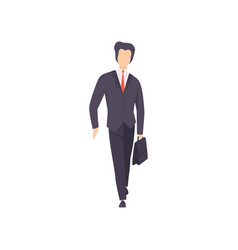 Businessman in black suit standing with briefcase vector