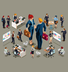 Businessmen icons isometric people vector