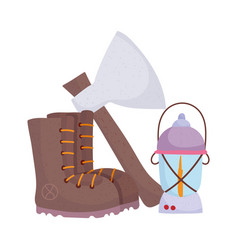 camping boot axe and lantern cartoon isolated icon vector image