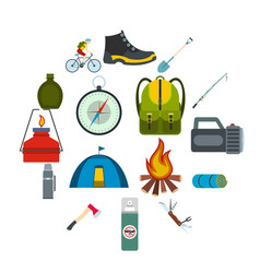camping flat icons vector image