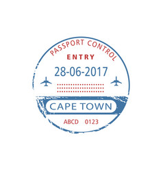Cape town isolated arrival entry visa stamp sign vector