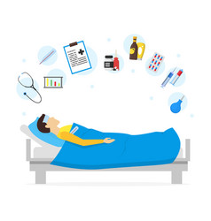 Cartoon sick man in bed and element set vector