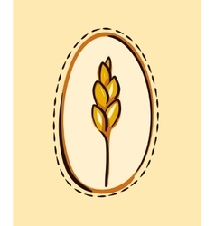 Cartoon wheat ear in a frame vector image