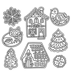 christmas gingerbread set in outline fox bird vector image