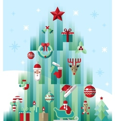 Christmas icons tree vector image