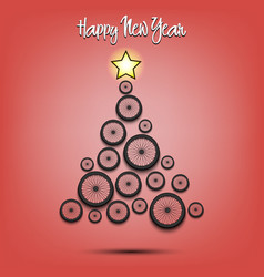 Christmas tree from bicycle wheel vector