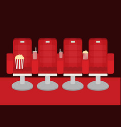 Cinema chairs with popcorn soda vector