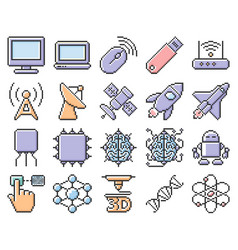 Collection outlined pixel icons high technology vector
