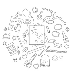 Collection scrapbooking tools vector