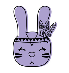 Color cute rabbit head animal with feathers vector