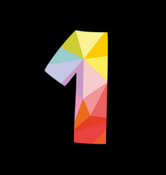 colorful number 1 isolated on black background vector image