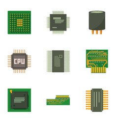 computer chip icons set cartoon style vector image