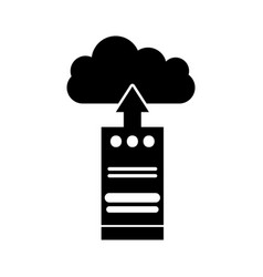computer tower with cloud computing vector image