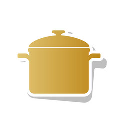 cooking pan sign golden gradient icon vector image
