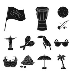 Country brazil black icons in set collection for vector