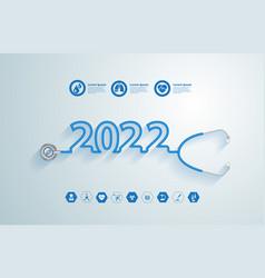 creative design stethoscope 2022 new year vector image