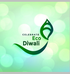 creative diwali diya design for green deepawali vector image